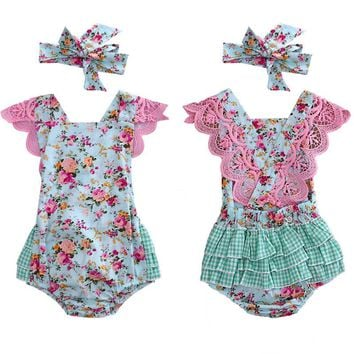 Floral Plaid Ruffled Romper with Headband