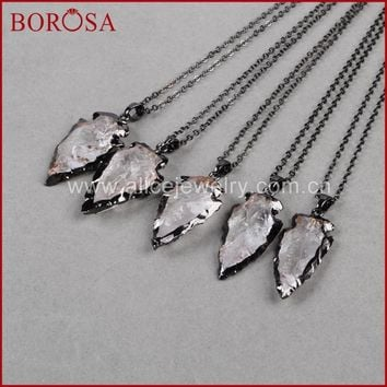 BOROSA Fashion Arrow Pendants Necklace New Crystal quartz arrowhead pendants Black Gun Metal Color Quartz Druzy Necklace B509-N