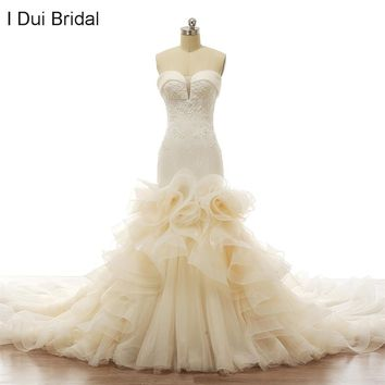 Cathedral Luxury Mermaid Wedding Dresses with Ruffle Floral Sweetheart Crystal Beaded Tiered Layers New Design Real Photo