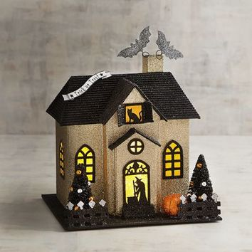 Gold Glittered LED Light-Up Witch House