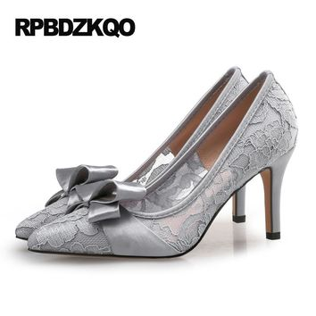 Pumps Shoes Gray Women High Heels Mesh 12 44 Ivory Wedding 3 Inch Lace Plus Size 2017 Modern Bow Pointed Toe Scarpin Japanese