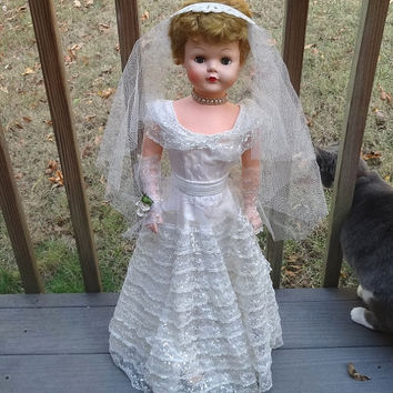 1950s Betty the Beautiful Bride with Box, Necklace, Tiara Veil, Dress, Shoes, Bouquet, 30 In., Soft Vinyl, Vintage Dolls, Vintage Toys,