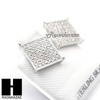 Iced Out Sterling Silver .925 Lab Diamond 11mm Square Screw Back Earring SE008S