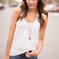 From The Top Criss Cross Tank Top (White)