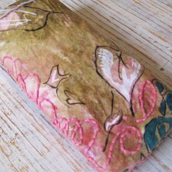 Pink Ivy Eyeglass Pouch OOAK Mixed Media