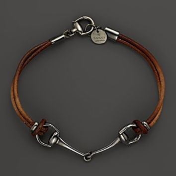 Gucci Horsebit Brown and Silver Bracelet