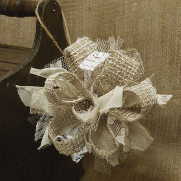 burlap christmas ornament handmade of painted burlap lace and t