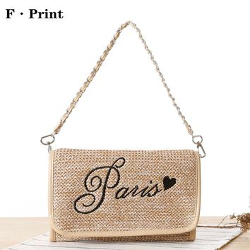 Multi-purpose Summer Women Day Clutch Bag Fashion Embroidery Letters Hand Straw Handbag PP Grass Woven Beach Shoulder Bags