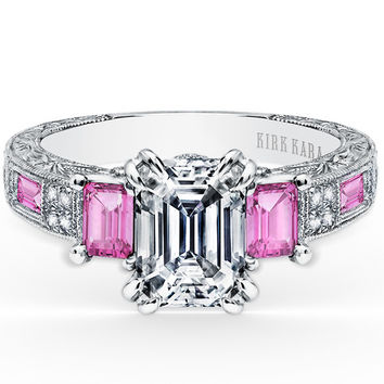 "Kirk Kara ""Charlotte"" Pink Sapphire Emerald Cut Diamond Three Stone Engagement Ring"