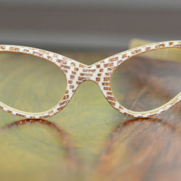 Vintage Cream and Gold Glitter Pattern Cat Eyeglasses NOS 44/20