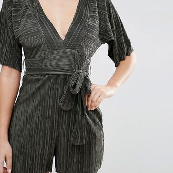 ASOS Pleated Plisse Romper with Tie Belt at asos.com