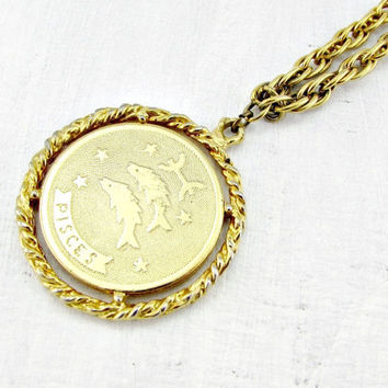 Vintage mens astrology necklace pisces from for Gold fish pendant