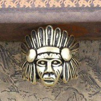 Tiger Totem hot selling crystal Rhine fashion jewelry American Indian tribal head rings