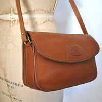 Honey Brown Leather Purse / shoulder bag