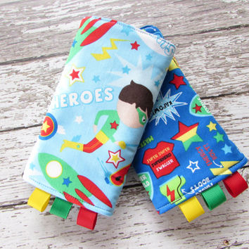 Superhero Boys Suck Pads - Baby Wearing Drool Pads - Ready To Ship