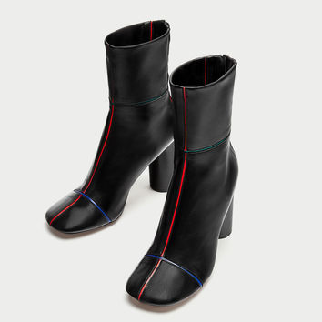 HIGH HEEL LEATHER ANKLE BOOTS WITH COLORFUL STRIPES DETAILS