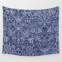 Detailed Floral Pattern in White on Navy Wall Tapestry by Micklyn