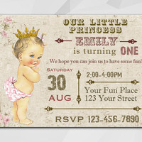 Vintage Princess invitation, Antique Little Princess, Vintage Little Princess Birthday invitation, etsy invitation C028-1