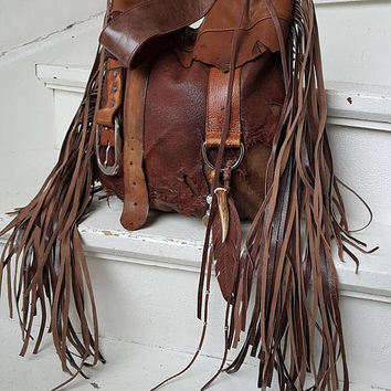 Brown distressed leather bag few tones fringe fringed hobo tribal african bohemian boho army purse sweet smoke free people  bag moroccan