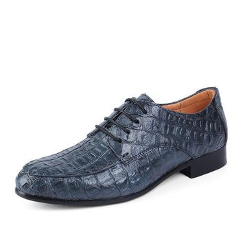 Reptile Skin Textured Genuine Leather Oxford Shoes