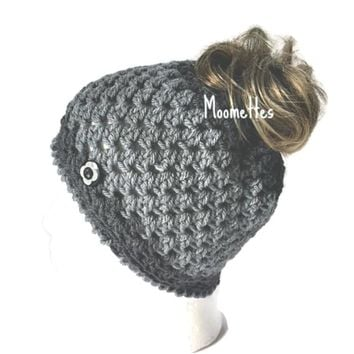 Handmade Messy Bun Beanie Light Gray Grey Ponytail Hat Wood Button Crochet Runner Cap