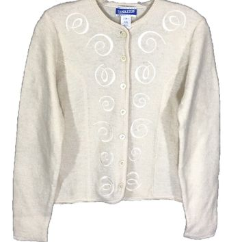 Vintage Pendleton '90s Cream Wool Rayon Cardigan Sweater Women's Size Petite P - Preowned