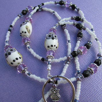 White Purple Owl Lampwork Beaded Lanyard ID Badge Holder
