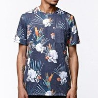 On The Byas Summer Paradise Pocket Crew T-Shirt - Mens Tee - Blue