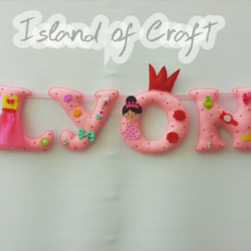 Princes themed name banner, personalised,nursery decor - MADE TO ORDER