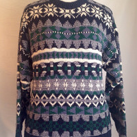Navy Blue Green White Striped Aztec Tribal Snowflake Oversized Holiday Christmas Hipster Cosby Retro 90's Sweater