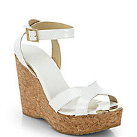 Jimmy Choo - Papyrus Patent Leather and Cork Wedge Sandals - Saks Fifth Avenue Mobile