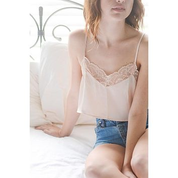 Satin Lace Top - Champagne