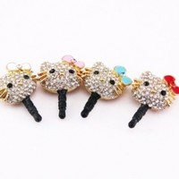 HJX Crystal Rhinestones Hello Kitty Earphone Jack/Dust Plug for iPhone and other smartphones- All 3.5mm Ear Jack (Bowknot Random Color)