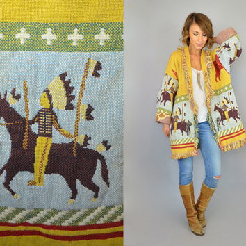 Rare vtg 80's NATIVE AMERICAN buffalo headdress cacti teepee boho hippie fringed woven tapestry JACKET coat, one size fits all