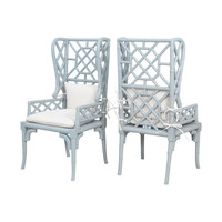 Bamboo Wing Back Chairs In Manor Slate - Set of 2 Manor Slate