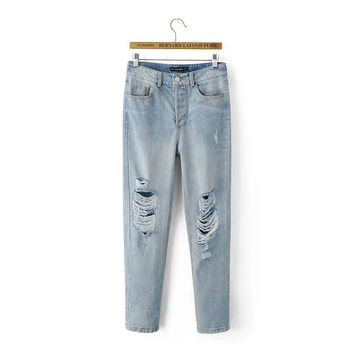 Summer Stylish High Rise Ripped Holes Pants Jeans [4919983044]