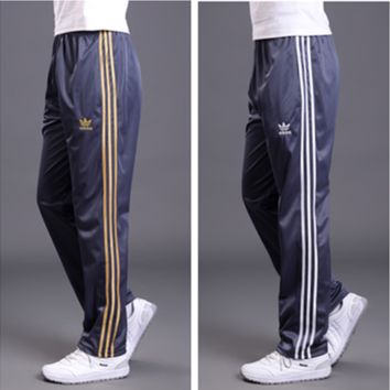 """Adidas"" Unisex Classic Clover Three Stripe Long Sweatpants Couple Casual Pants"