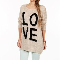 Ivory/Black Long Sleeve Love Sweater
