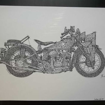 INDIAN 640B 1942, 1911, Not a print, ORIGINAL Handmade Drawing, Original Drawing, Ink on paper, 35x50cm, 13.5x19.5 in.