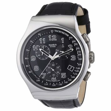 Swatch YOS440 Men's Your Turn Black Irony Chrono Black Dial Leather Strap Watch