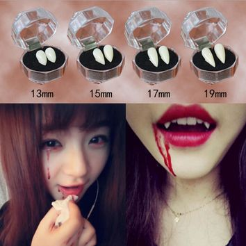 Hot Sale Horrific Fun Clown Dress Vampire Teeth Halloween Party Dentures Props Zombie Devil Fangs Tooth With Dental Gum 4 Sizes