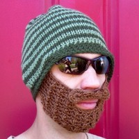 green striped bearded beanie S/M by taraduff on Etsy