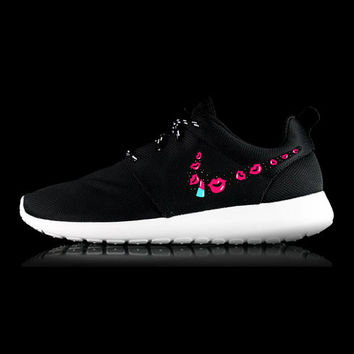 Womens Nike Roshe Run custom design, lipstick, lips, kisses, makeup artist inspired, Hot pink lips design, cute shoes