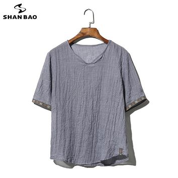 SHAN BAO brand clothing cotton and linen short-sleeved T-shirt men's 2017 summer thin paragraph loose t-shirt large size M-5XL