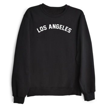 LOS ANGELES Women's Casual Black Gray Pink & White Crewneck Sweatshirt