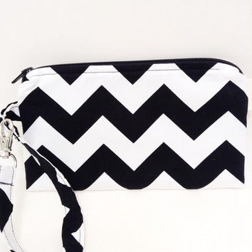 Flat Wristlet Black and White Chevron Gadget Case Bridesmaids Gifts Zigzag Pattern Pouch