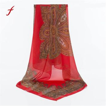 Feitong Quality Scarves For Women Poncho Bandana Fashion Lady Print Long Wrap Warm Women's Shawl Chiffon Snud Scarf Silk Scarves