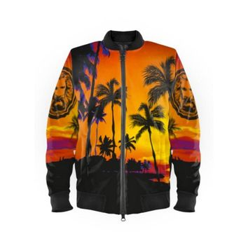 Orange Sleeves Tropical Bomber Jacket