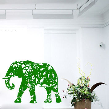 Wall Decals Vinyl Decal Ganesha Decorated Indian Elephant Animals Home Vinyl Decal Sticker Kids Nursery Baby Room Decor kk161
