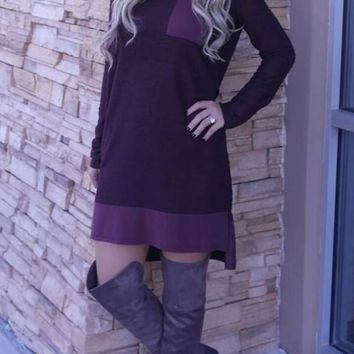 Purple Patchwork Pockets Round Neck Long Sleeve Mini Dress